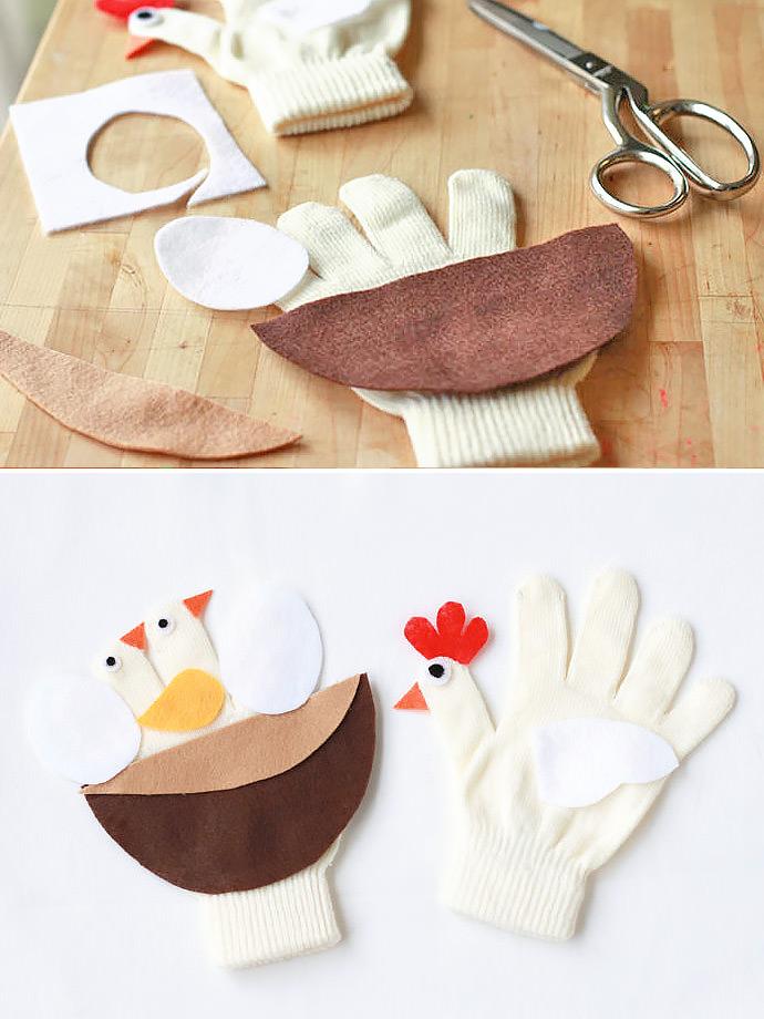 DIY Mama Chicken & Nest Gloves for Kids