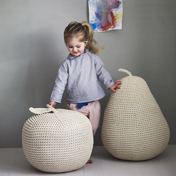 Apple & Pear Pouffes From Rowen & Wren