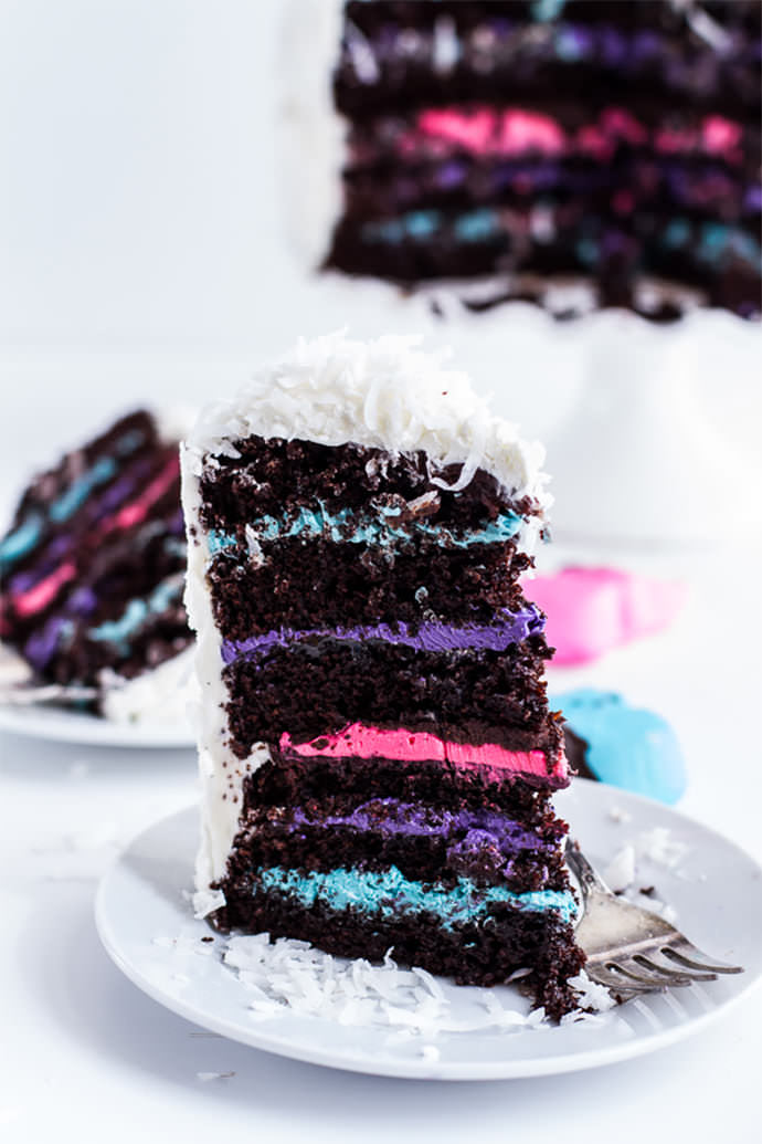 6-Layer Coconut Covered Chocolate Peeps Cake via Half Baked Harvest