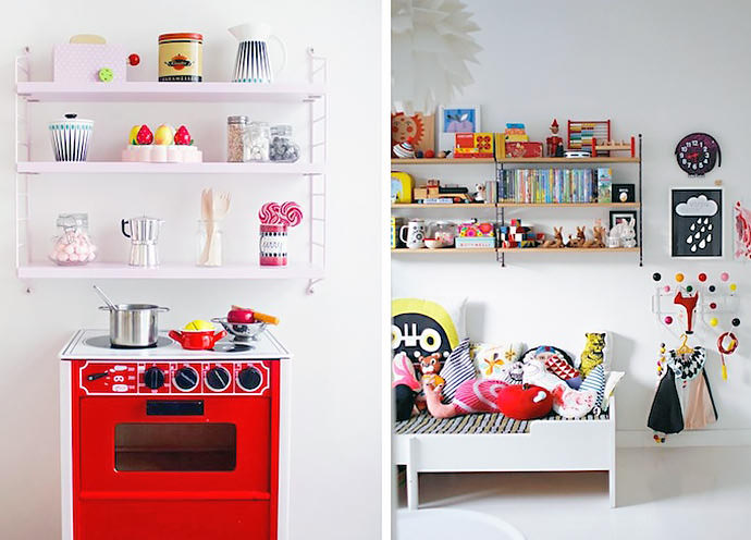 Modern wall shelves for kids handmade charlotte for Shelving for kids room