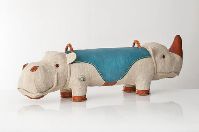 Double-Face Jute and Leather Toy Hippopotamus-Rhinoceros by Renate Müller