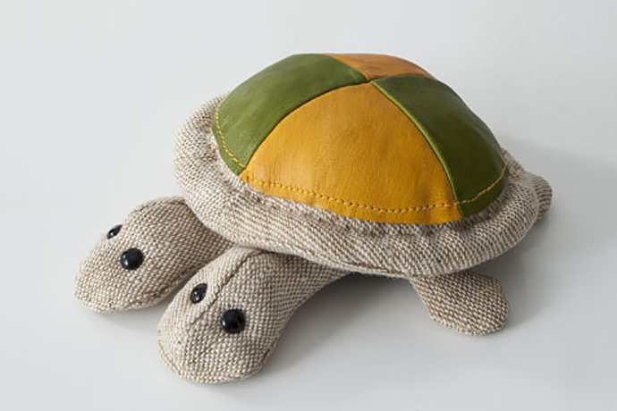 Two-Headed Jute & Leather Turtle by Renate Muller