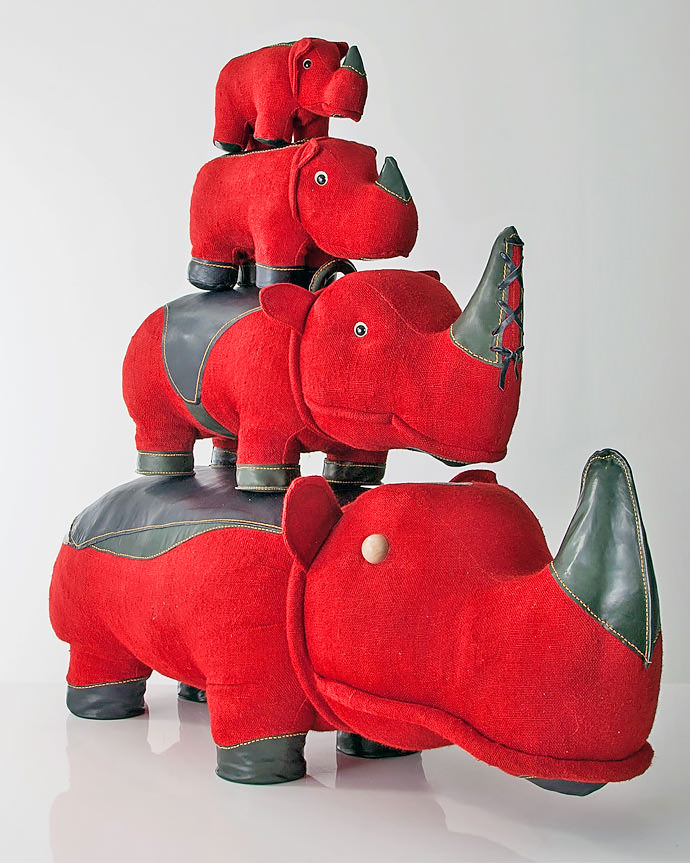 Red Jute and Leather Hippopotamus Toys by Renate Muller