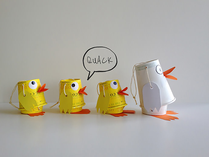 DIY Paper Cup Duck Family