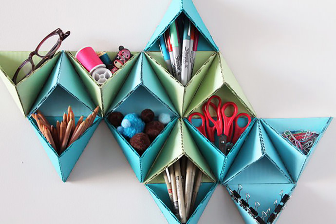 DIY Triangular Wall Storage System via Brit & Co