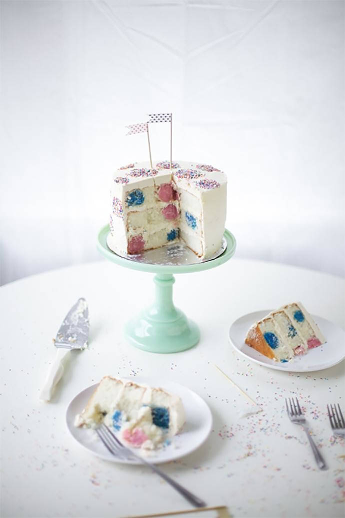 Polka Dot Inside-And-Out Birthday Cake
