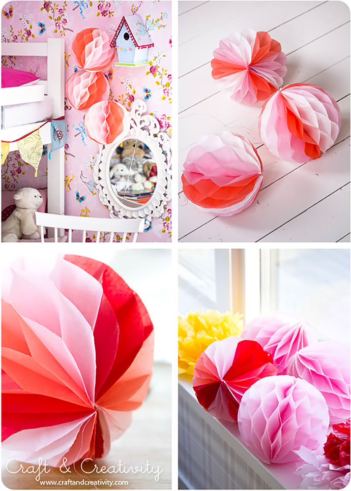 DIY Honeycomb Pom-Poms via Craft and Creativity
