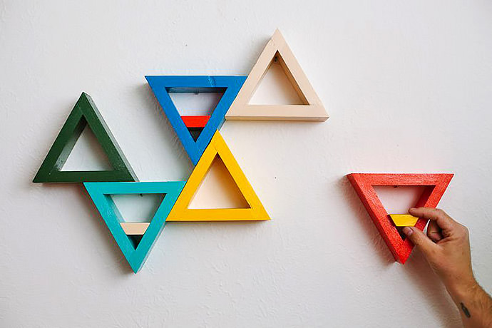 DIY Triangle Shelves via A Beautiful Mess