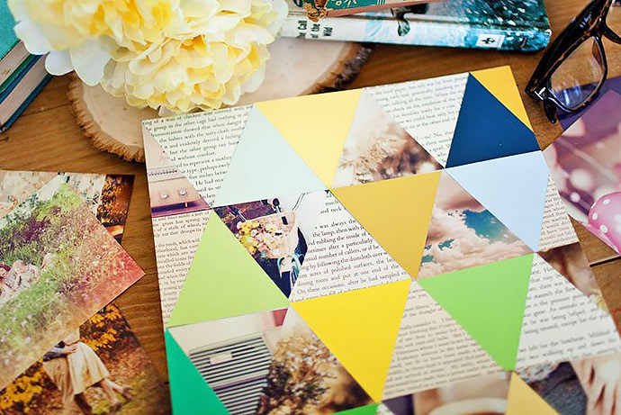 DIY Geometric Photo Collage via A Beautiful Mess