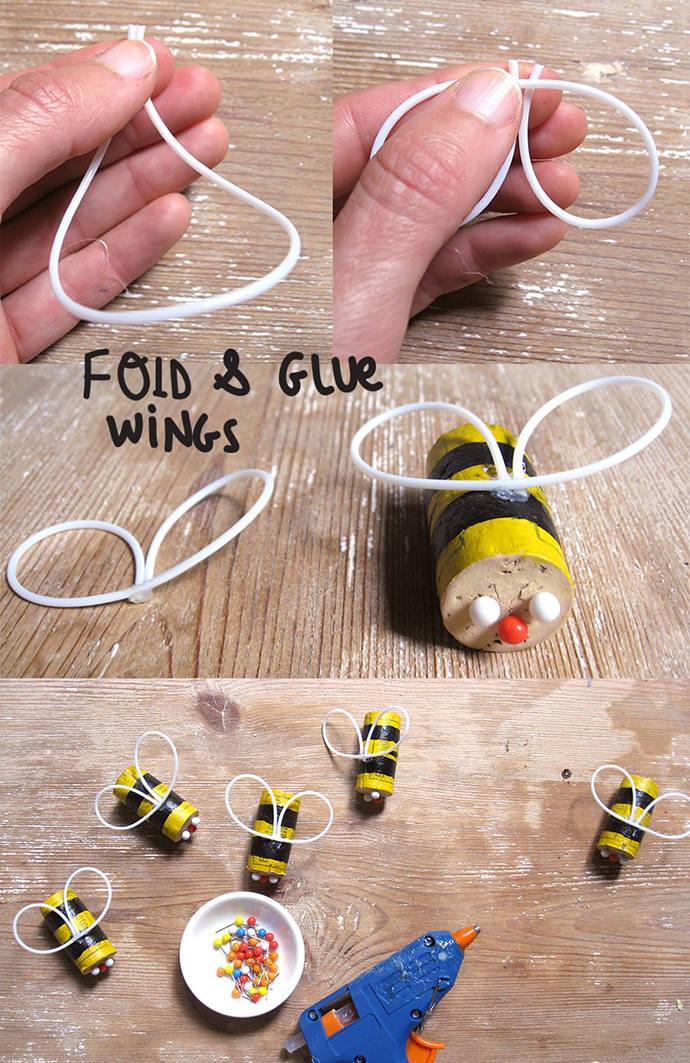 diy cork bumblebee mobile