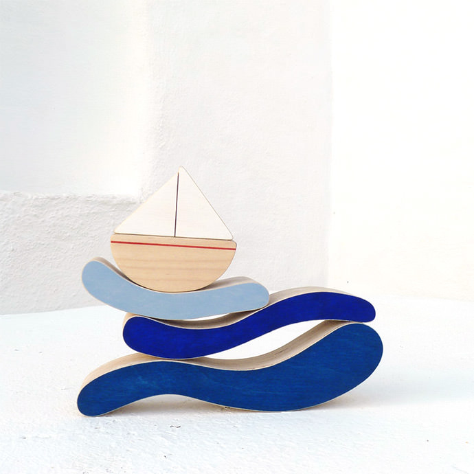 Beautiful Boat and Sea Stacker Toy (via The Wandering Workshop on Etsy)