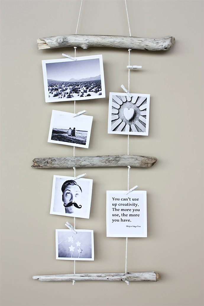 Diy summer wall hangings handmade charlotte for Diy hanging picture display