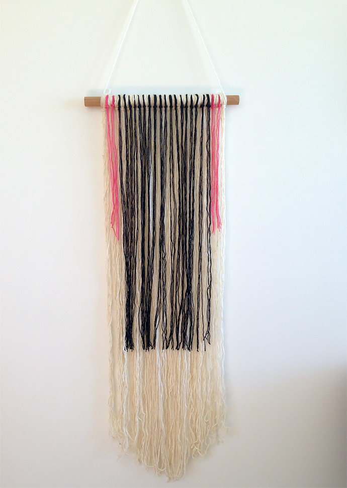 Yarn And Wood Wall Hanging