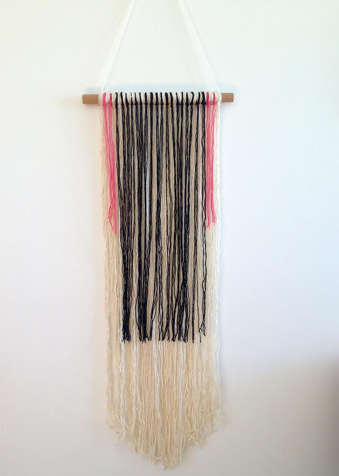 Diy summer wall hangings handmade charlotte for Yarn wall hanging