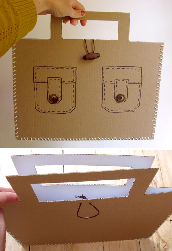 DIY Laced Cardboard Handbags