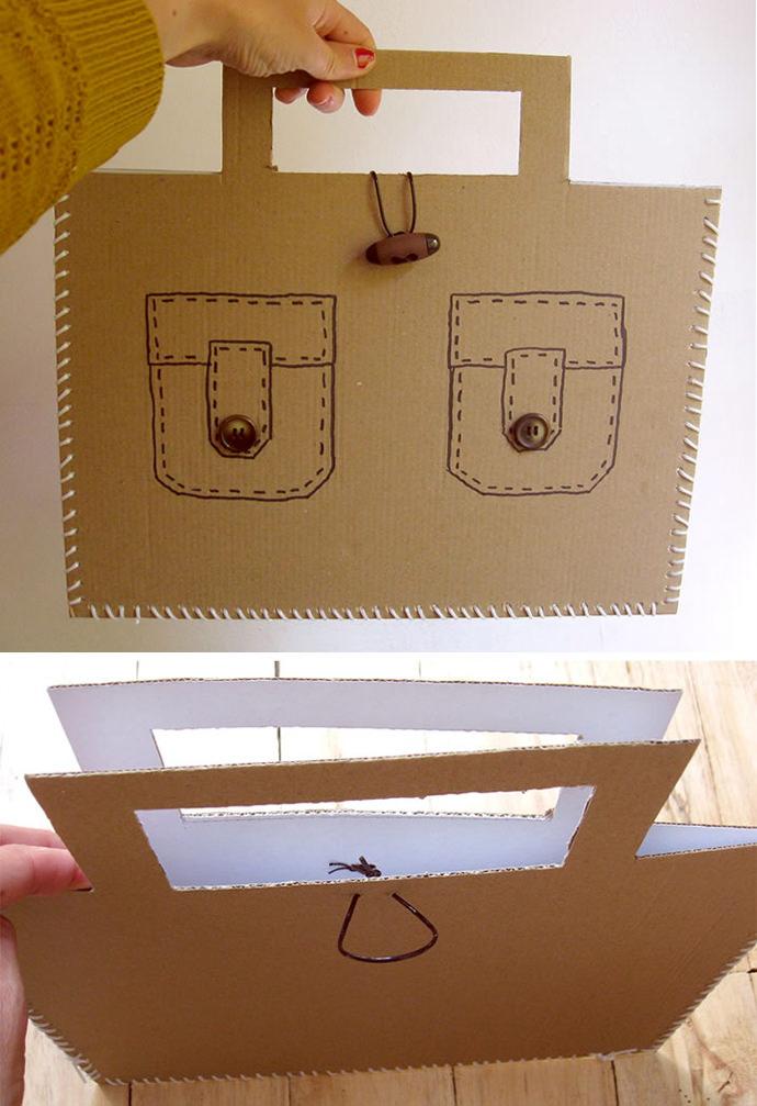 DIY Laced Cardboard Handbags