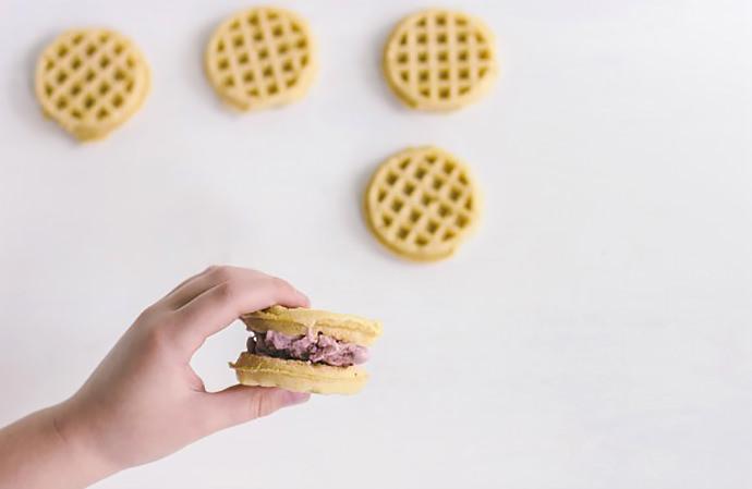DIY Waffle Ice Cream Sandwiches