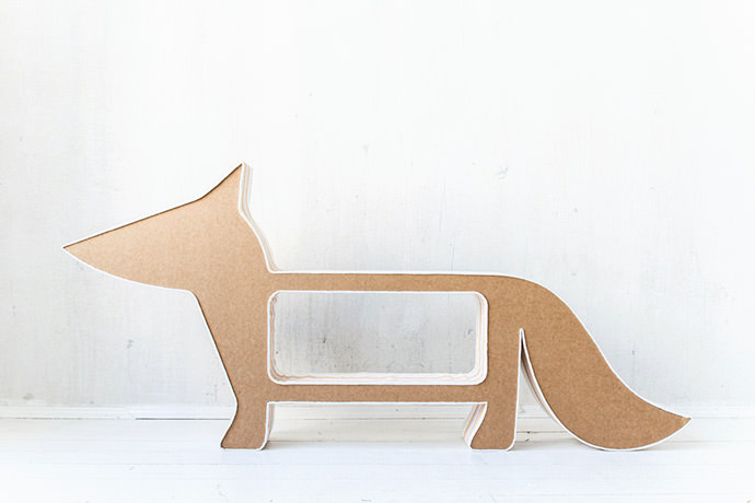 Foxy Cardboard Bookshelf (via Cardboard Friends on Etsy)