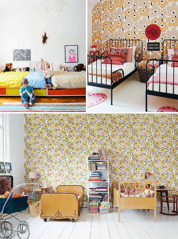 shared kids room (photo credits, clockwise: house and home, made by girl, mokkasin)