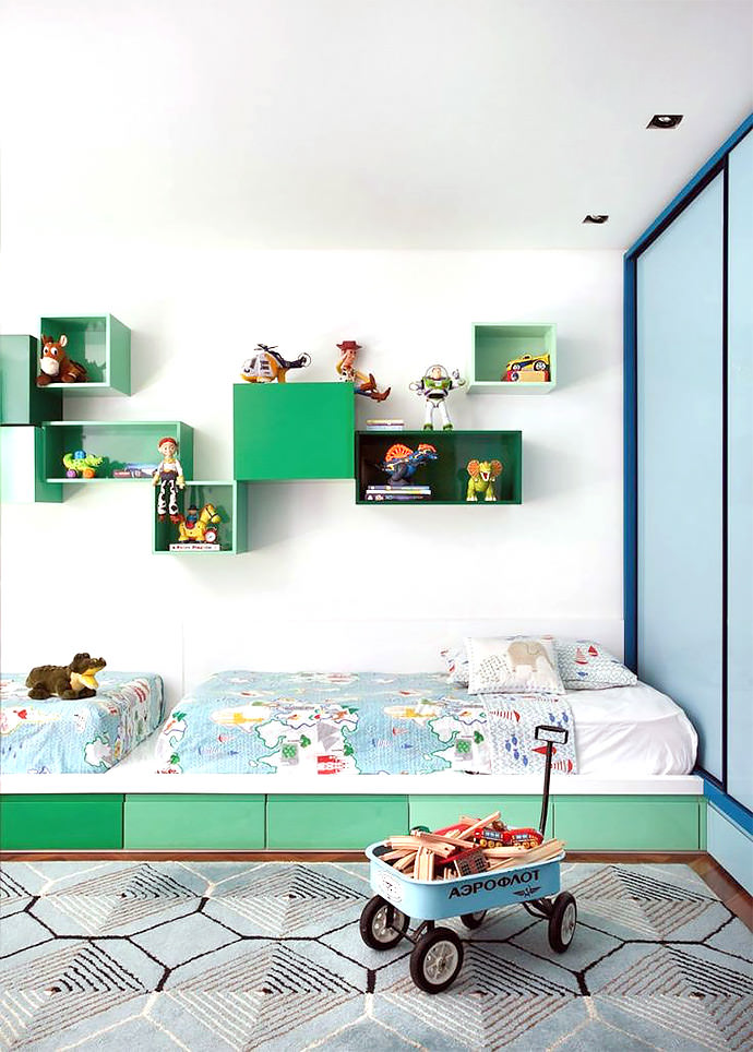 colorful & modern shared kid's room, image via Denilson Machada