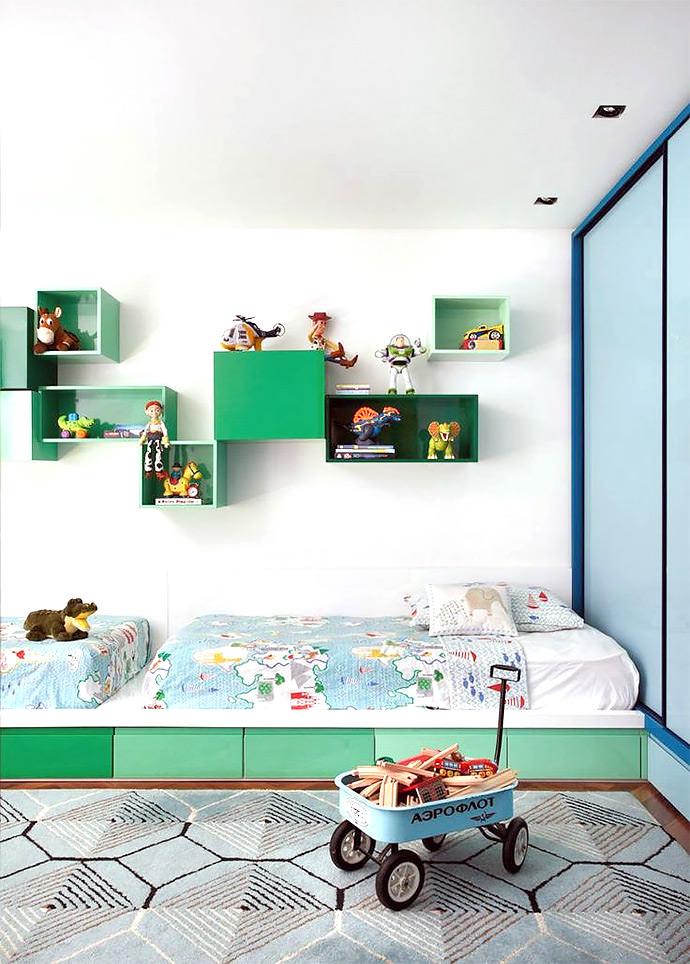 colorful & modern shared kid's room, image via Denilson Machada