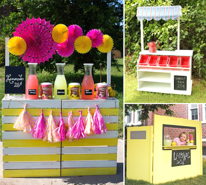 Lemonade Stands from The Nerd's Wife, Daisy Mae Belle, and This Old House DIY Lemonade Stands (clockwise) via The Nerd's Wife, Daisy Mae Belle, and This Old House