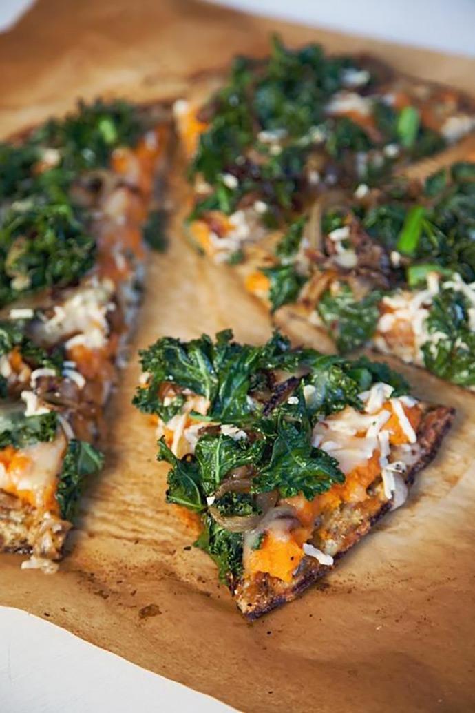 Sweet Potato + Kale + Caramelized  Onions via) Oh My Veggies