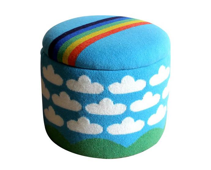 New Rainbow and Cloud Stool/Storage Box by Sally Nencini