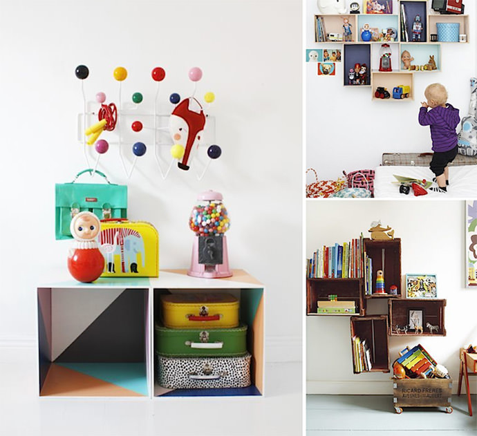 Fun DIY Storage for Kids via  Varpunen, A Merry Mishap, and The Guardian