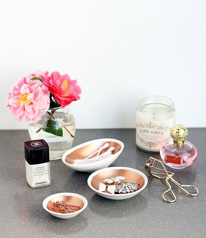 diy home decor project copper vanity bowls