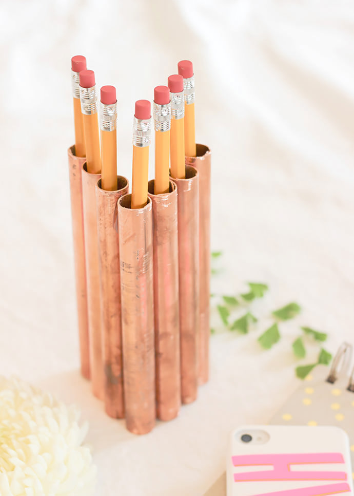 diy home decor copper pencil holder - Copper Home Decor