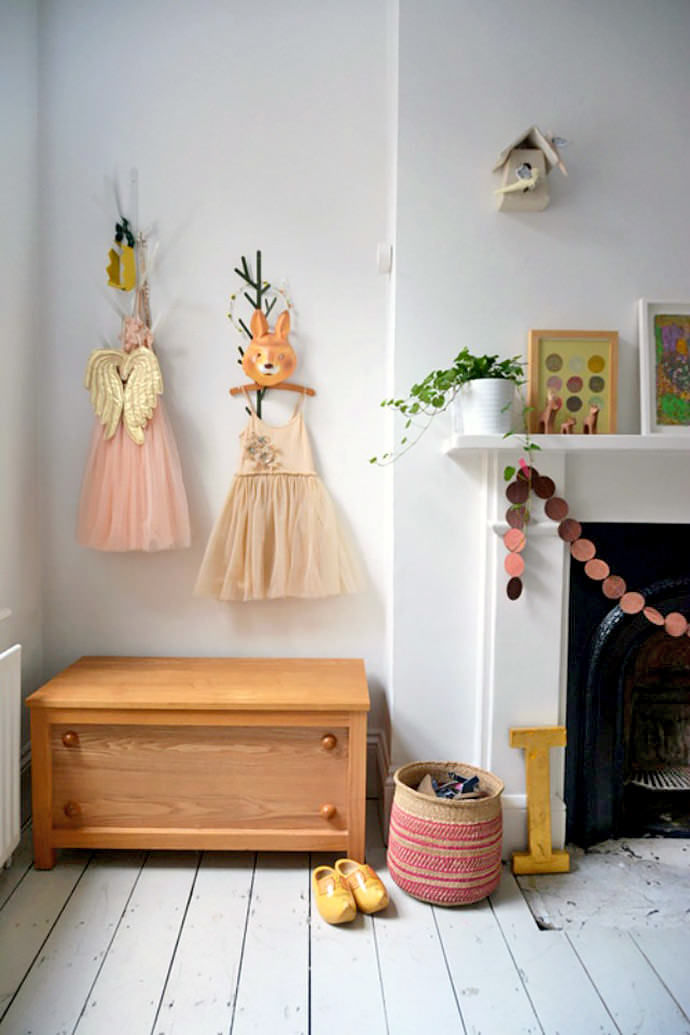 Decorating the children's room wall with vintage dresses (via Courtney Adamo )