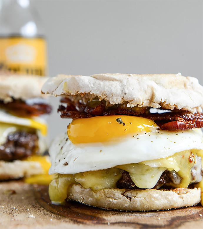 Breakfast Sandwich Recipe: Breakfast Burgers with Maple Aioli (via How Sweet It Is)