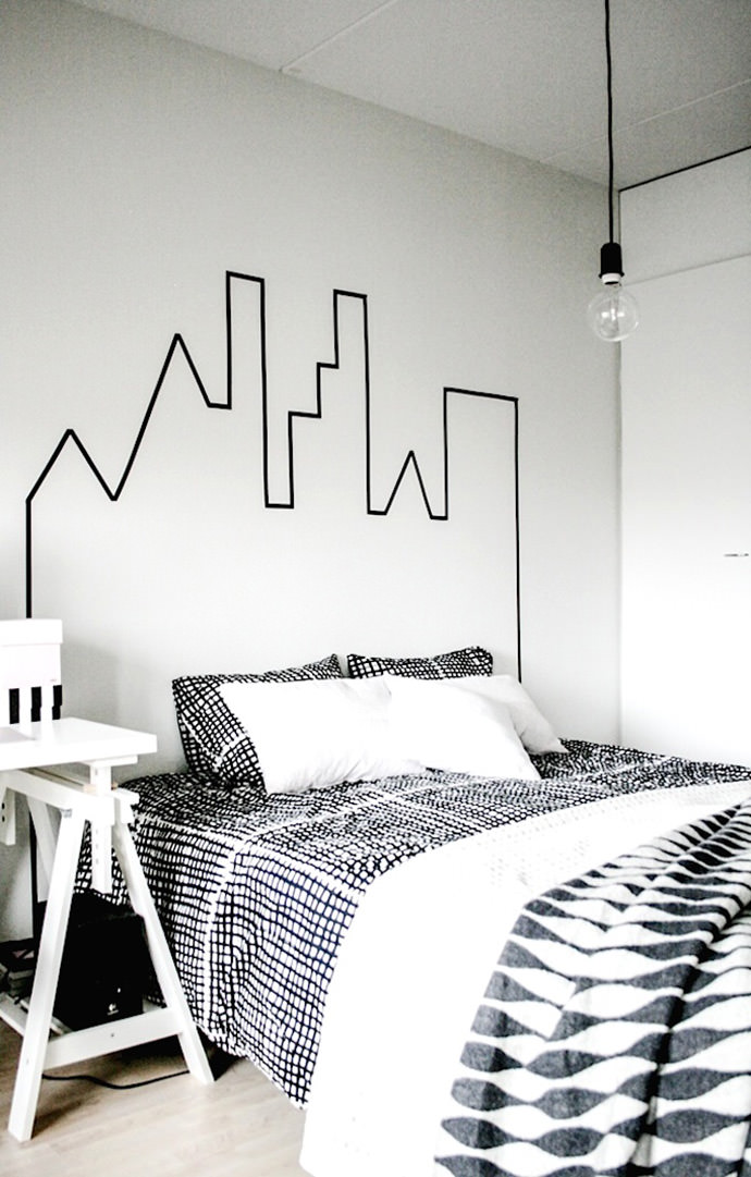 DIY Washi Tape Skyscraper Headboard via Charlotte Minty