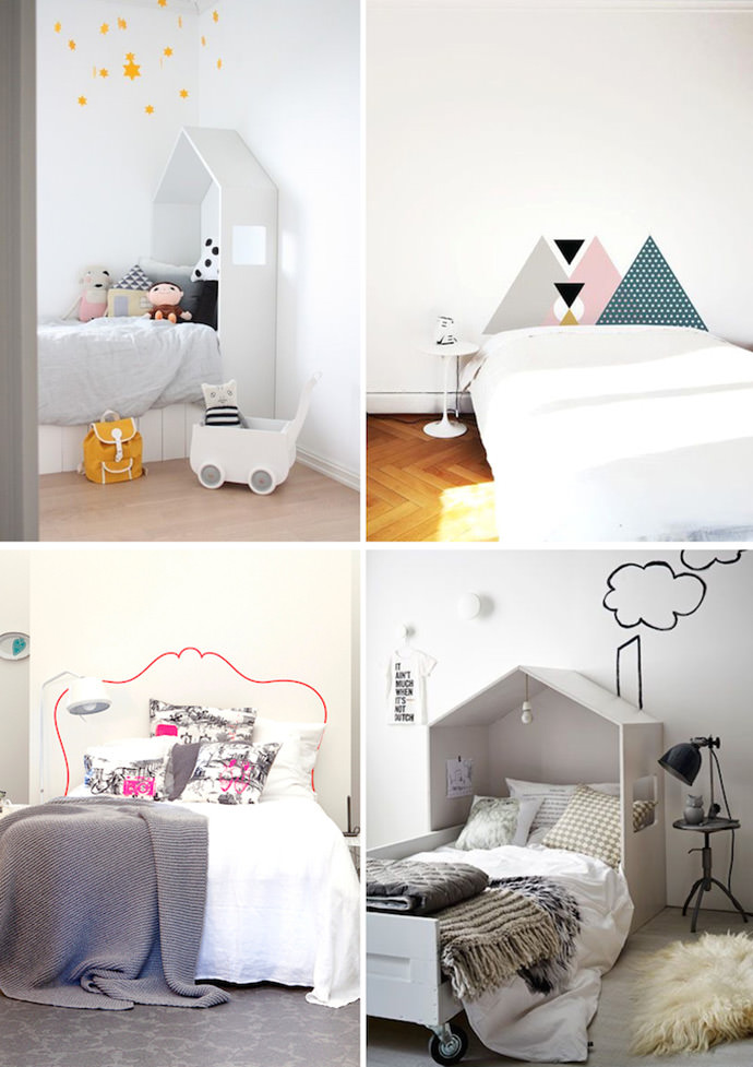 DIY Headboard Ideas for Kids (via Deas Og Mia, Fab.com, Vt Wonen)