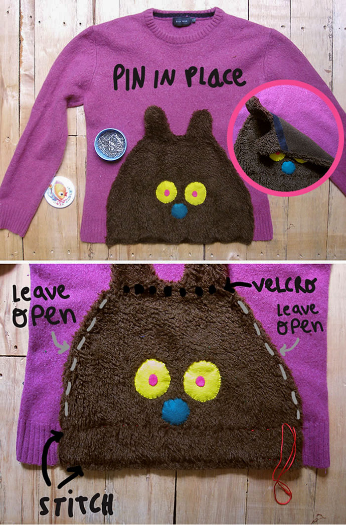 DIY Secret Fuzzy Bear Pocket