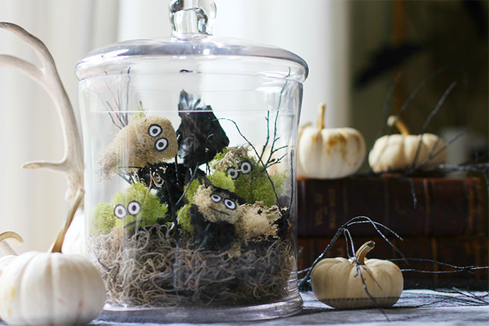DIY Spooky Terrarium with Monster Moss Creatures!