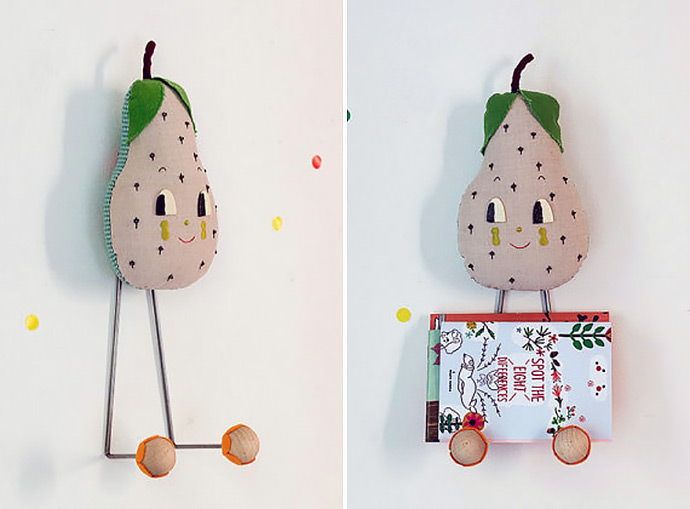 Big head happy pear wall rack from Misako Mimoko