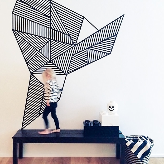 DIY Masking Tape Wall Mural for Kids (via Land of Nord)