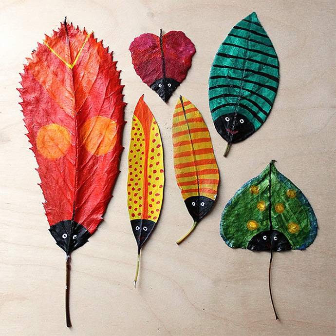 DIY Painted Leaf Bugs for Kids (via Hazel Terry)