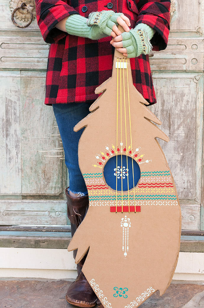 Diy Stenciled Feather Guitar Handmade Charlotte