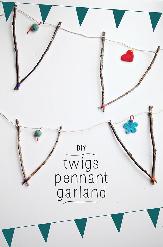 DIY Twigs Pennant Garland via Small for Big