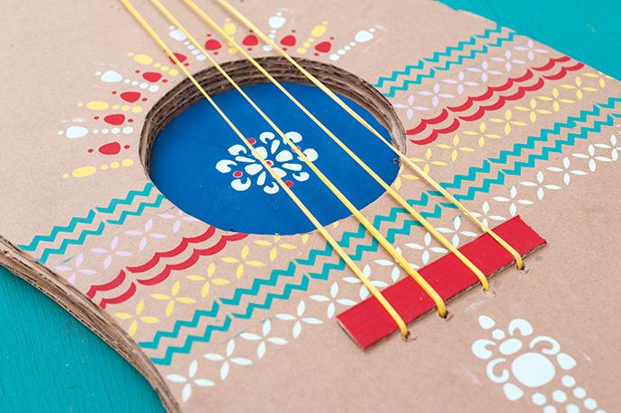 DIY Stencilled Folk Guitar
