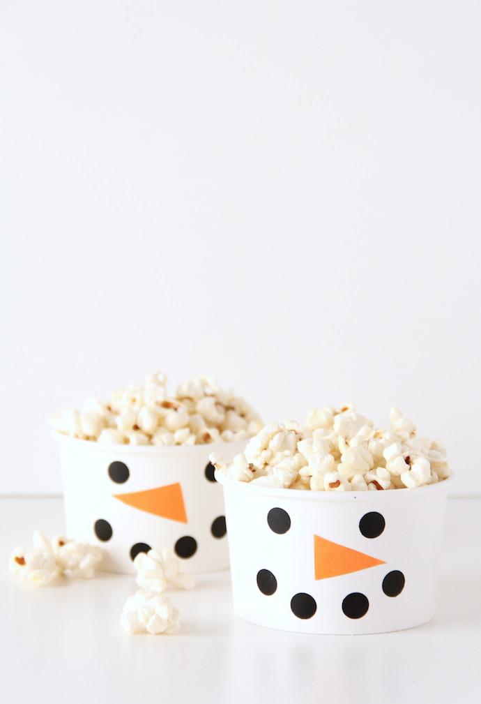 DIY Snowman Snack Cups