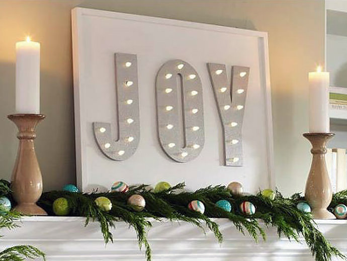 DIY Lighted Joyful Marquee for the holidays