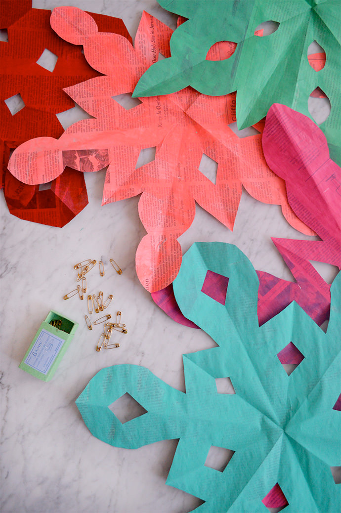 Recycled Newspaper Holiday Decorations
