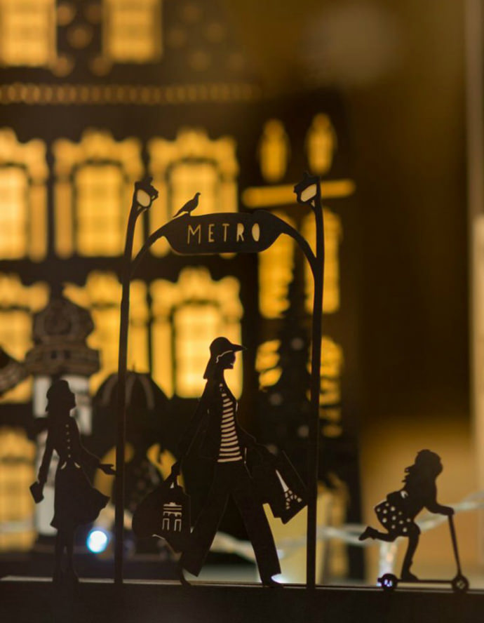 Papercut window display by French artist Hélène Druvert