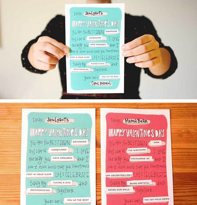 DIY Mad Lib Valentines