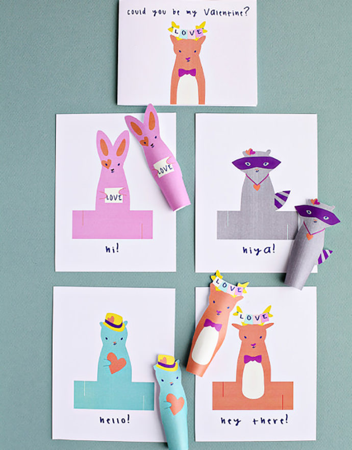 DIY Animal Finger Puppet Valentines