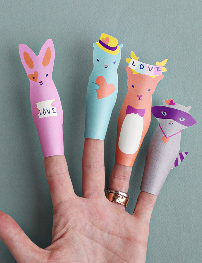 Valentine's Day Paper Finger Puppets For Kids
